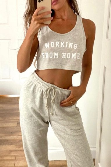 "Loungewear ""Working"" From Home Slogan Crop Top In Grey"