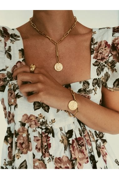 Gold Chunky Chain & Coin Drop Lariat