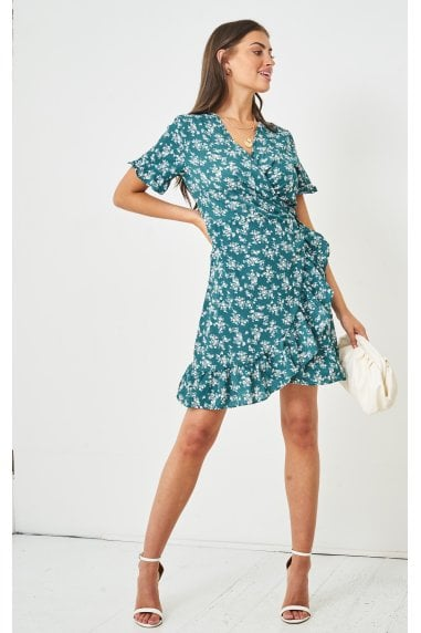 Ditsy Floral Short Sleeve Mini Wrap Dress | Green