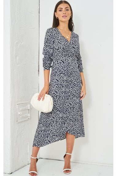 Ditsy Floral Print Midi Wrap Dress | Navy