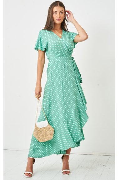 Polka Dot Short Sleeve Maxi Wrap Dress | Green