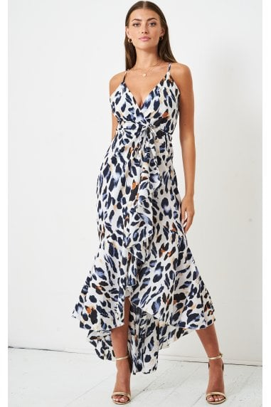 White Leopard Print Maxi Wrap Dress | Multicolour