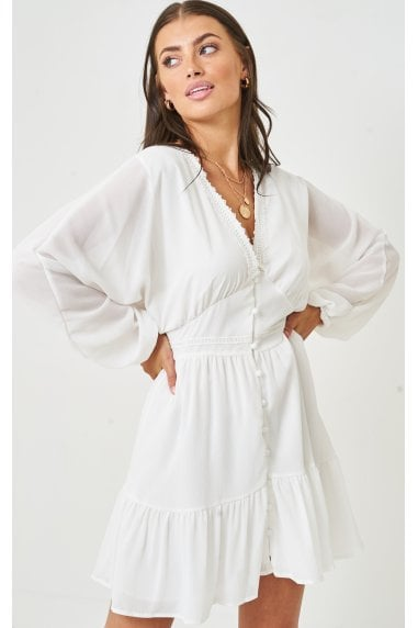 Lace Trim Smock Dress | White