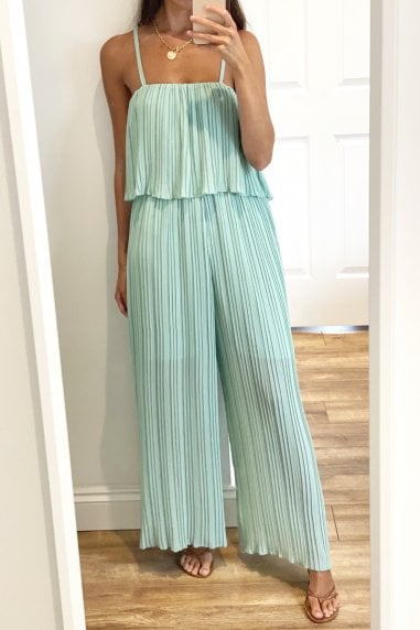 Green Frill Detail Pleated Strappy Jumpsuit