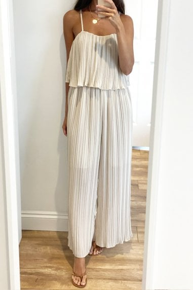 Beige Frill Detail Pleated Strappy Jumpsuit