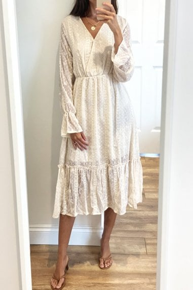 Beige Long Sleeve Ruffle Hem Midi Dress