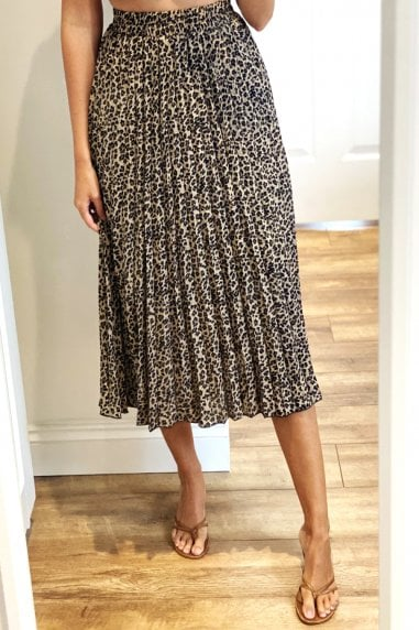Beige Pleated Leopard Print Midi Skirt