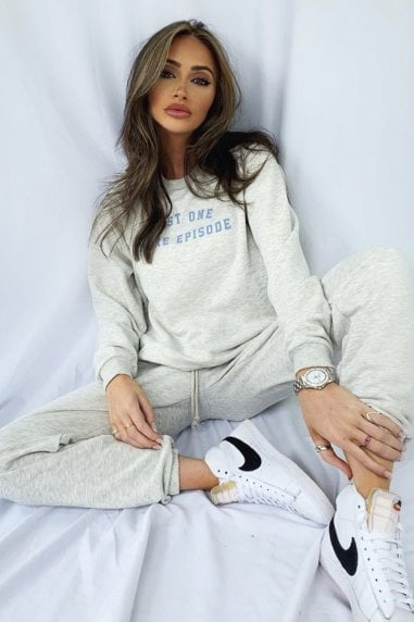 Loungewear Just One More Episode Slogan Sweat Top In Grey