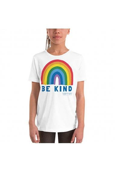 Kids White Be Kind Rainbow Classic Jersey T-shirt