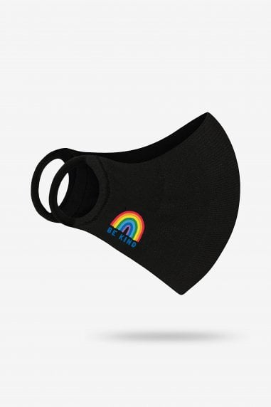 Black Be Kind Rainbow Personal Antibacterial Fabric Protection Face Mask / Soft Touch For Kids - Pack of 10