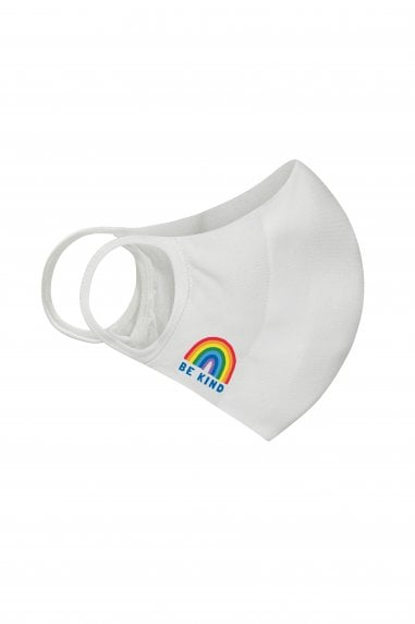 White Be Kind Rainbow Face Mask / Soft Touch For Adults -Pack of 20
