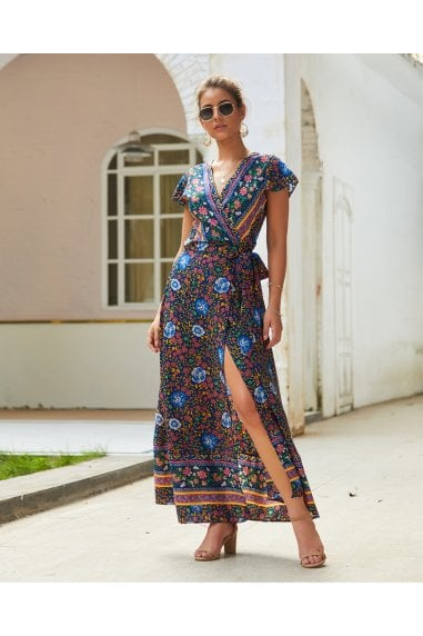 Bohemian Style Wrap Maxi Dress In Navy & Yellow & Green Floral Print
