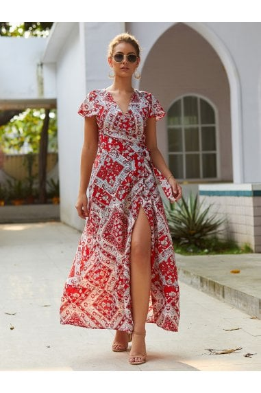 Bohemian Style Wrap Maxi Dress In Red & Cream Mix Geometric Print