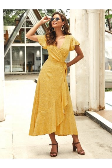 Bohemian Style Wrap Maxi Dress In Yellow Floral Print