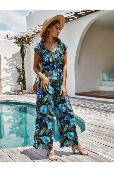 Sleeveless Jumpsuit With Frill Detail V Neckline In Black With Green Palm Leaf Print
