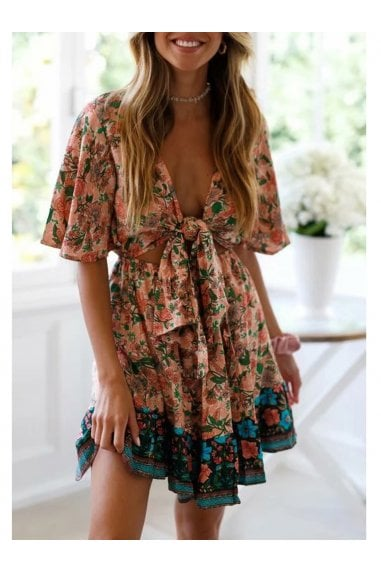 Summer Mini Dress In Peach & Green Floral