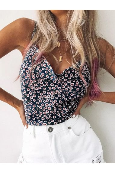 Cowl Neck Cami Top in Navy Floral