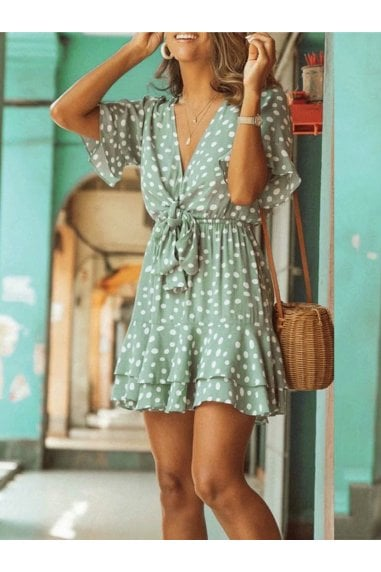 Frill Skater Mini Dress In Mint With Spot Print