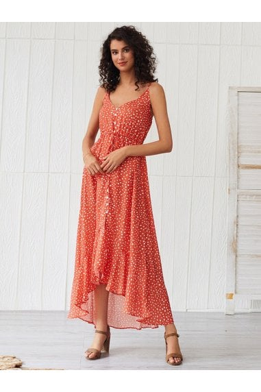 Frill Detail Strappy High Low Dress In Orange With Spot Print