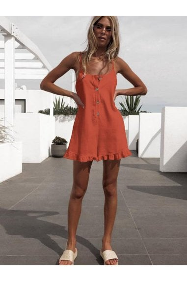 Summer Playsuit With Frill Detail In Orange