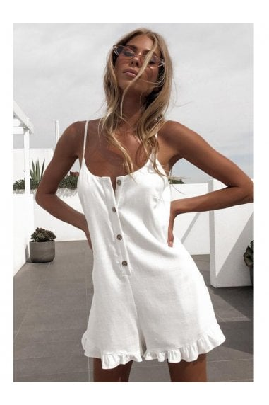 Summer Playsuit With Frill Detail In White