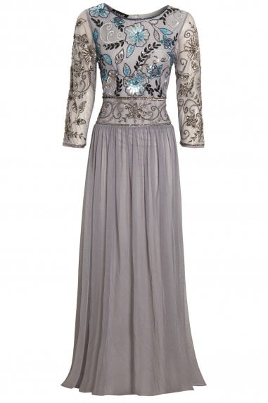 EMBELLISHED LONG SLEEVE GREY BRIDESMAID MAXI DRESS