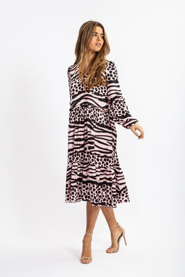 A-Shape Midi Dress in Pink Leopard Print