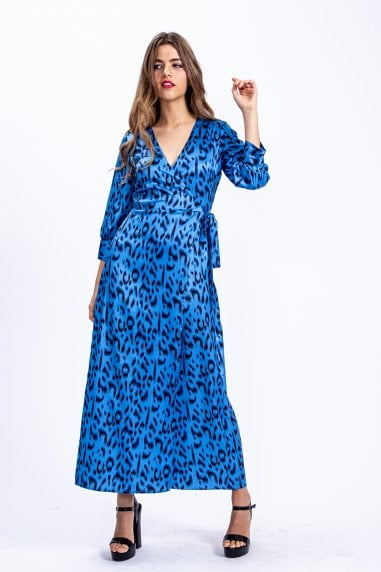Maxi Wrap dress in blue leopard print with 3/4 length sleeve