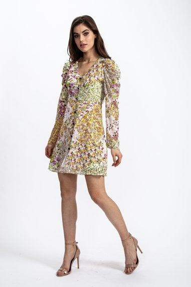 Mini Dress in Lurex Floral Print with Rushed sleeves