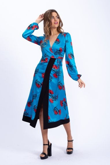 Midi Wrap Dress in Oriental Floral Print