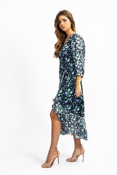 Maxi Wrap Dress in Navy floral with Contrast hem and Balloon sleeve