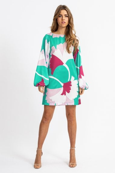 Mini Shift Dress with Balloon Sleeves in Overscale Floral print