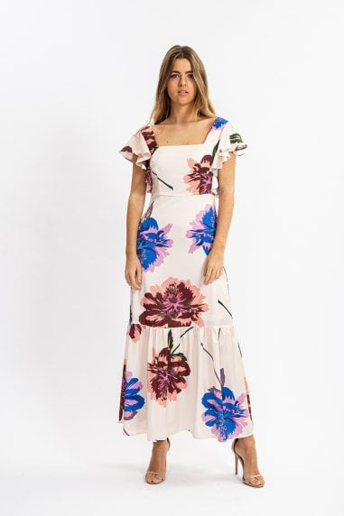 Overscale Floral Print Maxi Dress with Frill Sleeves