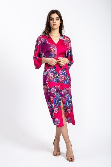 Kimono Dress with Open Back in Fuchsia Oriental print