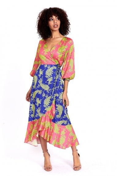 Midi Wrap Dress in Contrasting Colours Paisley Print