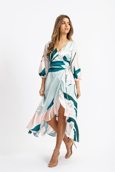 BALLOON SLEEVE MIDI DRESS IN TURQUOISE FLORAL PRINT