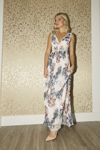 Kimberly Floral-Print Pleated Hem Maxi Dress