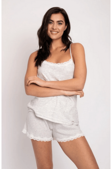 Organic Cotton Cami Short Set - Grey Ecru