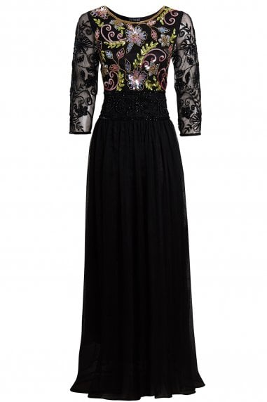 EMBELLISHED LONG SLEEVE BLACK BRIDESMAID MAXI DRESS