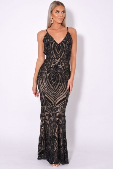 SPOTLIGHT BLACK VIP LUXE BACKLESS MERMAID FISHTAIL DRESS