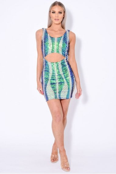TILL MIDNIGHT GREEN CUT OUT SEQUIN BANDAGE BODYCON DRESS