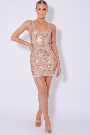ICEY VIP ROSE GOLD PLUNGE FLORAL SEQUIN ILLUSION MINI DRESS