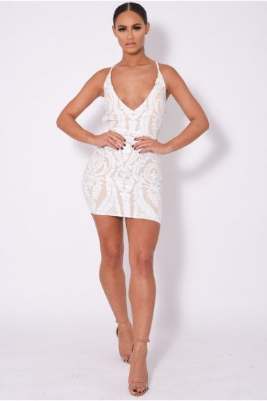 SOHO LUXE WHITE NUDE PLUNGE FLORAL SEQUIN ILLUSION DRESS