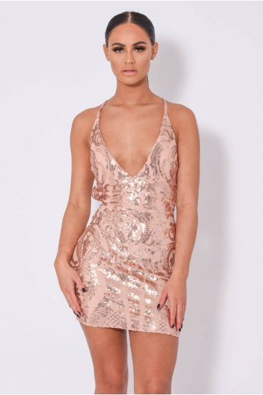 SOHO LUXE ROSE GOLD PLUNGE FLORAL SEQUIN ILLUSION DRESS