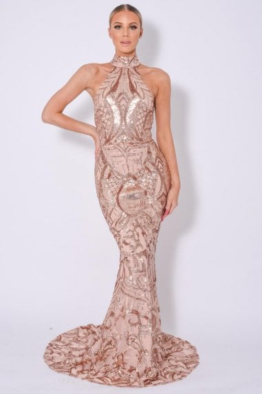 ENVY ROSE GOLD LUXE MAXI FISHTAIL SEQUIN EMBELLISHED DRESS