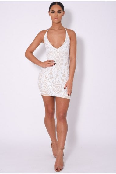 ICEY VIP WHITE NUDE PLUNGE FLORAL SEQUIN ILLUSION MINI DRESS