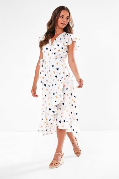 Wrap Front Midi Dress in White Heart Print