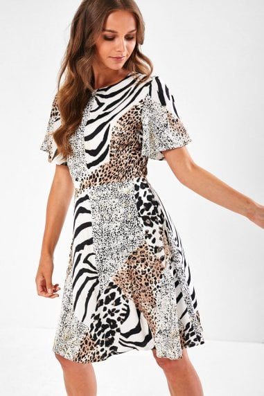 Coco Short Dress in Mixed Animal Print