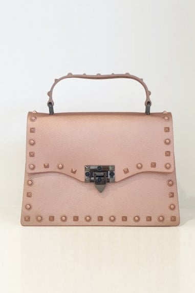 New Fashion Rivet Small Square Bag Handbags In Rose