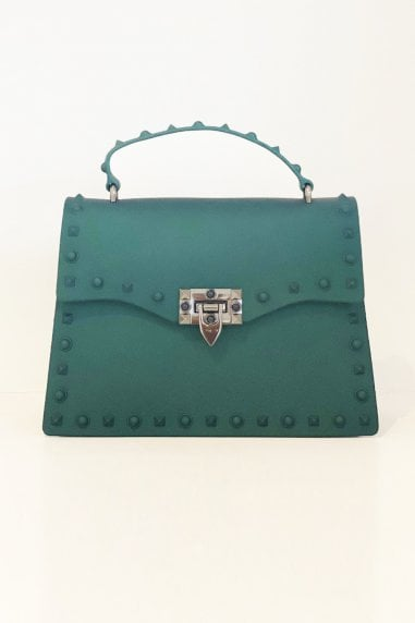 New Fashion Rivet Small Square Bag Handbags In Dark Green